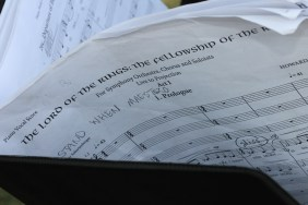 The score with notes.